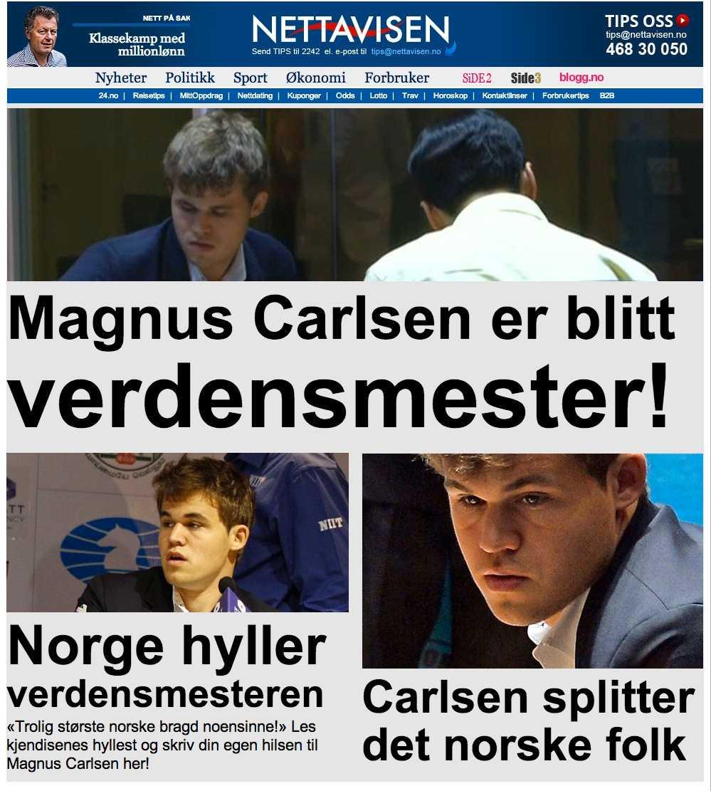 Nettavisen gillar Carlsens ansikte.
