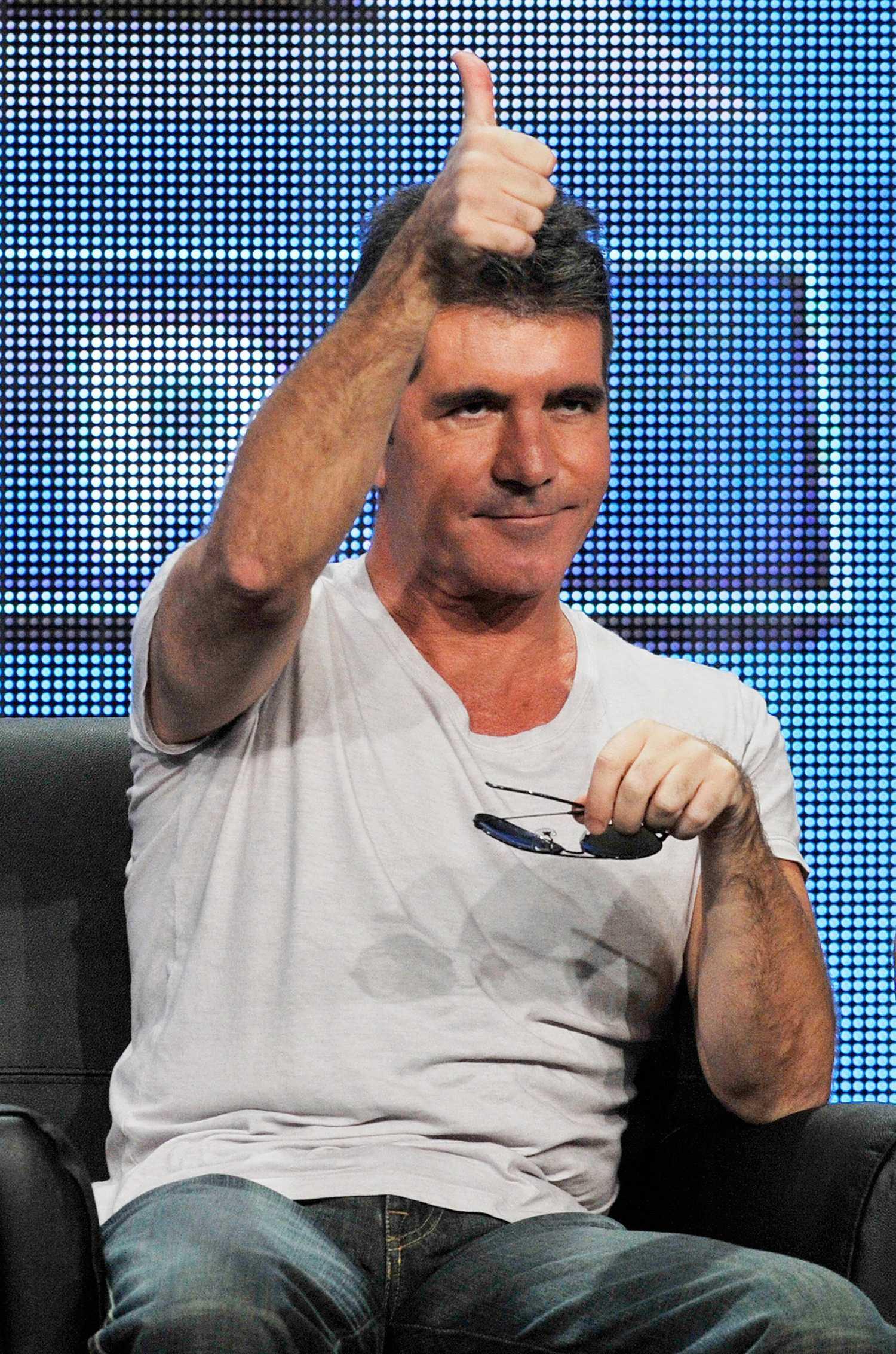 Simon Cowell: inte så mycket tummen upp som på den här bilden.