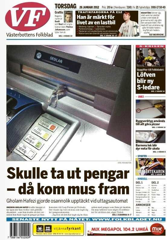 Västerbottens Folkblads förstasida i dag.