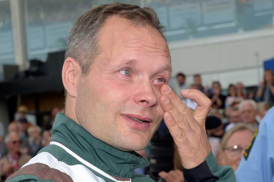 Pasi Aikio rörd efter segern i Svenskt Travderby