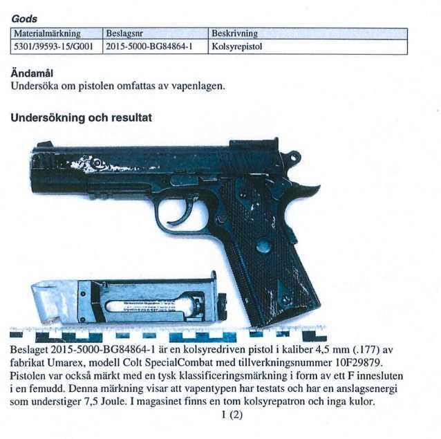 Kolsyrepistol model Colt SpecialCombat. I magasinet fanns en tom kolsyrepatron.