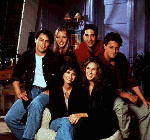 """Matt LeBlanc, Lisa Kudrow, David Schwimmer, Matthew Perry, Courteney Cox och Jennifer Aniston i den tioåriga succéserien """"Vänner""""."""