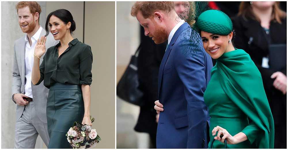 Under ett besök i grevskapet Sussex 2018 bar Meghan en grön sidenblus från svenska Other Stories. I mars i år var Meghan Markle och prins Harry hemma i Storbritannien för sista gången innan de kungliga uppdragen avslutades. Då bar Meghan helgrönt, ett tajt fodral med tillhörande hatt med flor samt höga klackar.