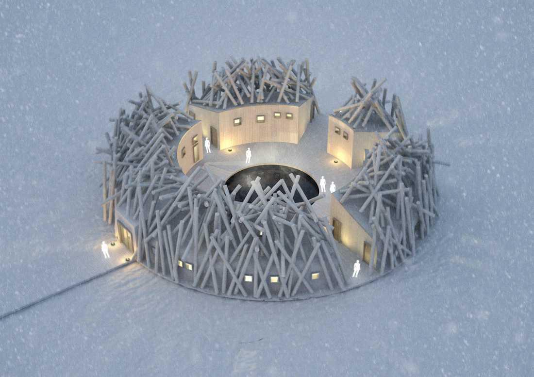 Arctic Bath har sex hotellrum fördelat mellan sju huskroppar.