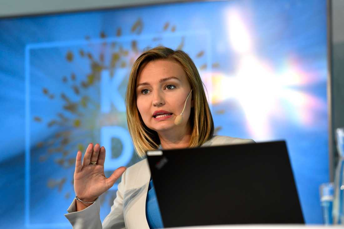 Kristdemokraternas Ebba Busch Thor talar i Almedalen.