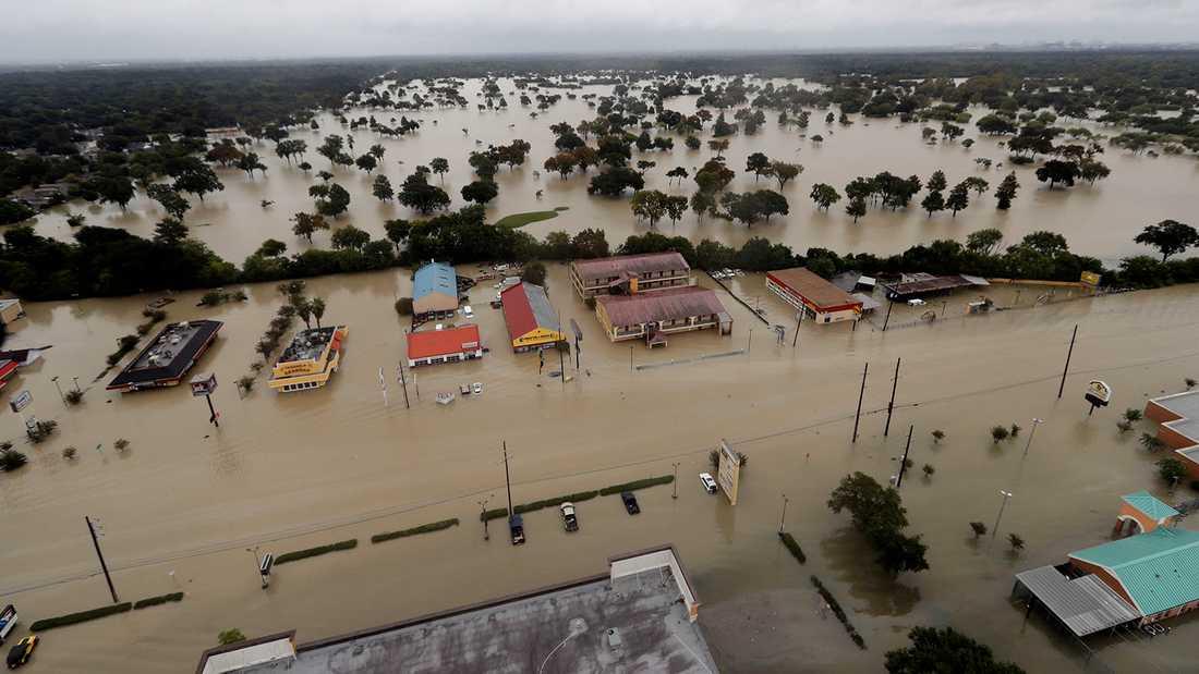 Översvämningar i Texas i stormen Harveys spår.