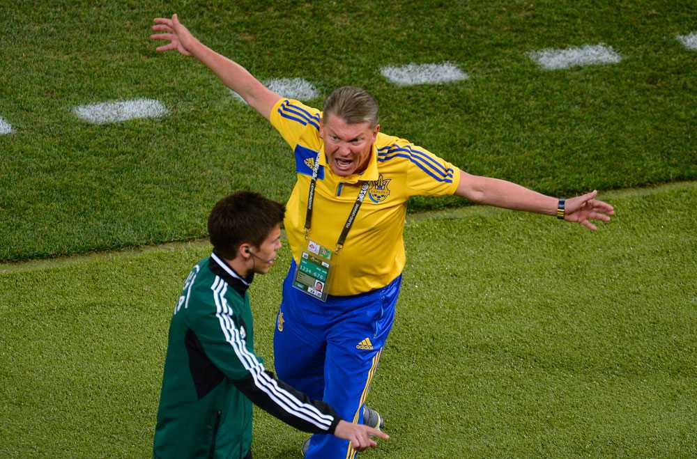 Ukrainas förbundskapten Oleg Blokhin var förbannad på att det inte blev mål och var sur både under och efter matchen.