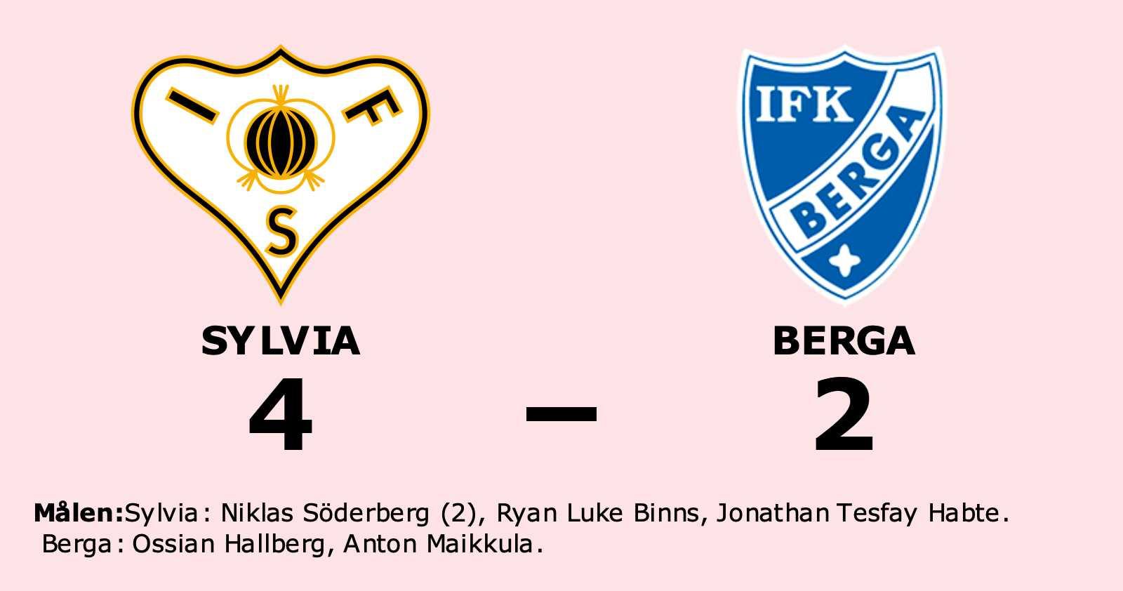 Niklas Söderberg gjorde två mål när Sylvia vann