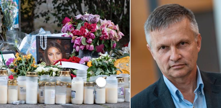 Platsen där Karolin Hakim sköts ihjäl. Till höger: Pär Andersson.