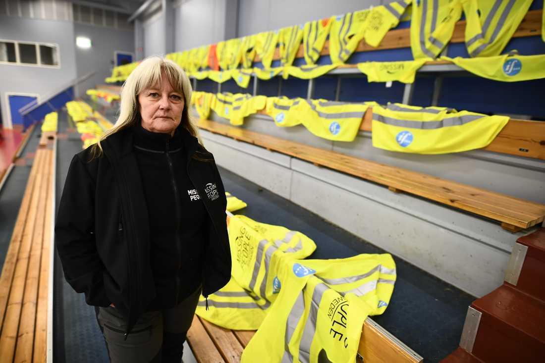 Tessan Jigfjord, operativ chef på Missing People, i Färjehallen i Färjestaden.