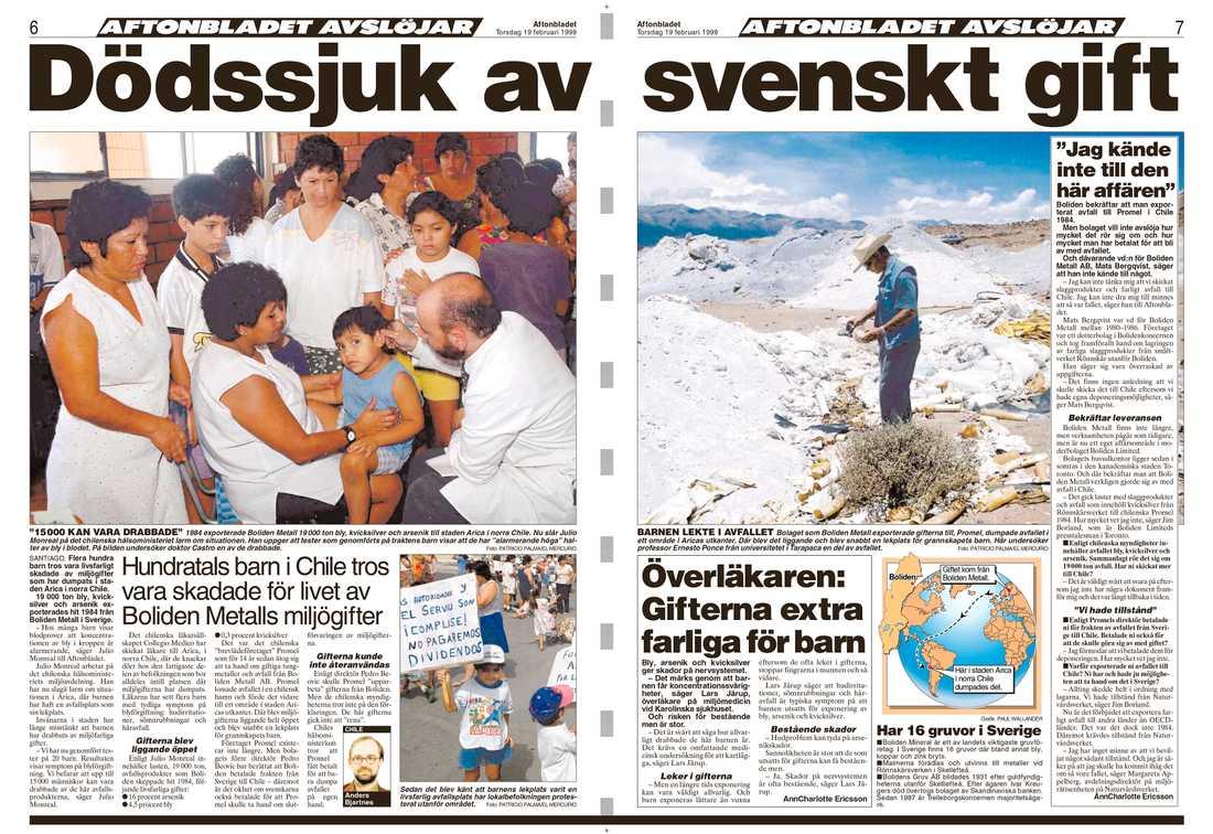 Aftonbladet avslöjade giftskandalen den 19 februari 1998.