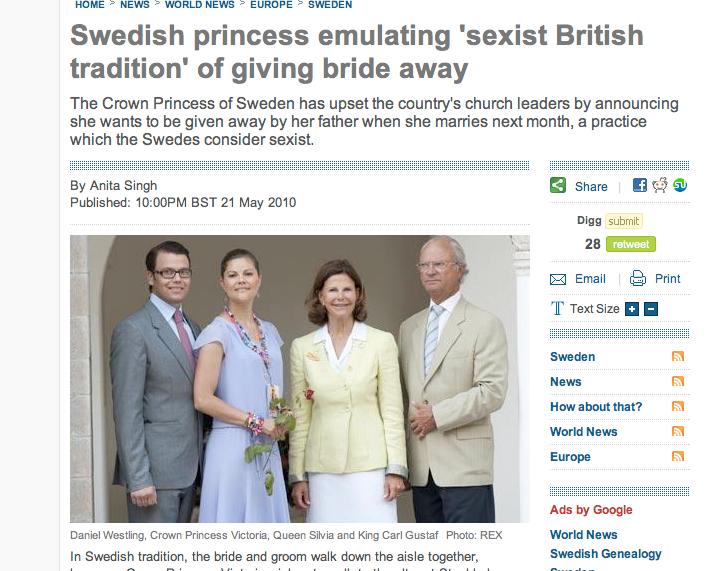 """Den brittiska tidningen Telegraph skriver att kronprinsessan Victoria upprört svenska kyrkan med den """"sexistiska, brittiska traditionen""""."""