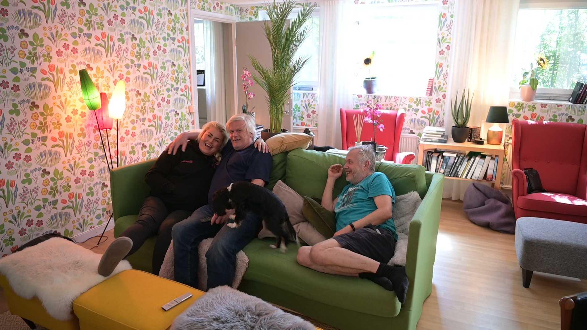 Jeanette tillsammans med gästerna Kent och Anders.
