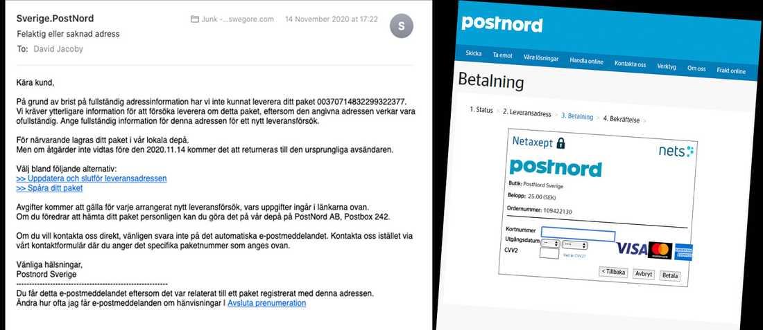 Det mycket välgjorda bluffmejlet ser ut att komma från Postnord.