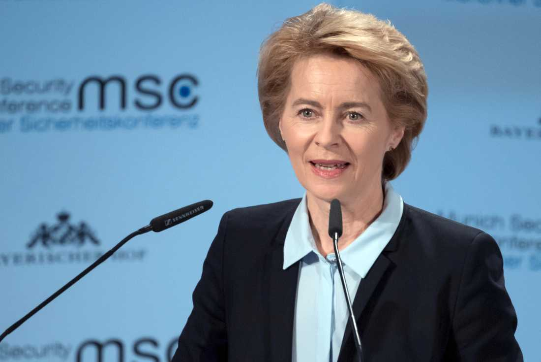 Ursula von der Leyen, tysk försvarsminister och Europeiska rådets förslag till ny ordförande för EU-kommissionen. Arkivbild.