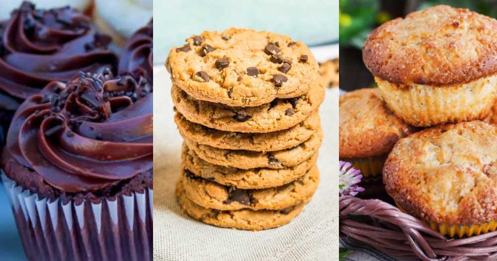 Chokladmuffins, chocolate chip cookies och äppelmuffins.