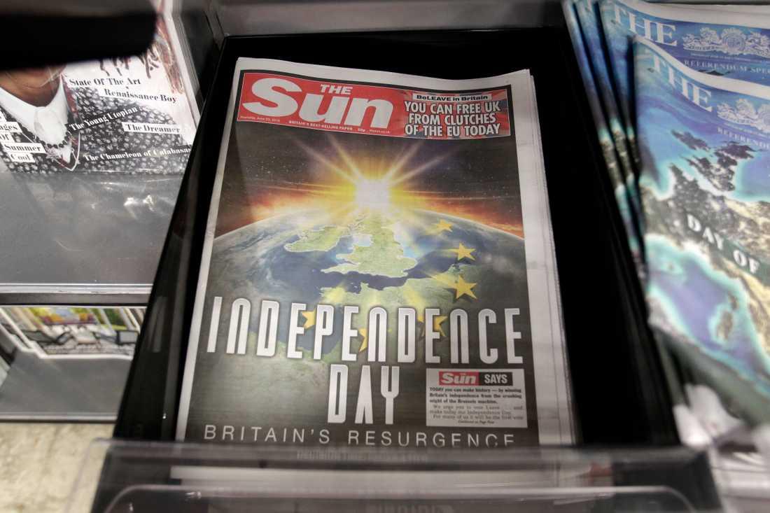 En brittisk självständighetsdag – independence day – var vad tidningen The Sun hoppades på inför folkomröstningen der 23 juni 2016. Tidningen fick som den ville, men än är brexitdramat ändå inte klart. Arkivfoto.