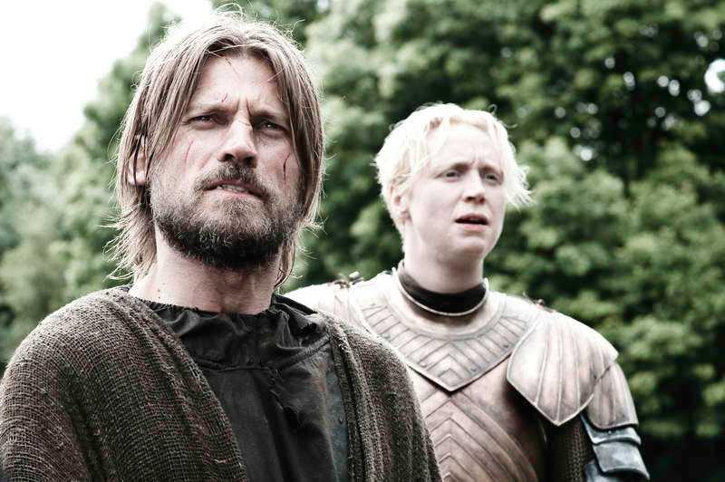 """Jamie (Nikolaj Coster-Waldau) och Brienne (Gwendoline Christie) i """"Game of thrones""""."""
