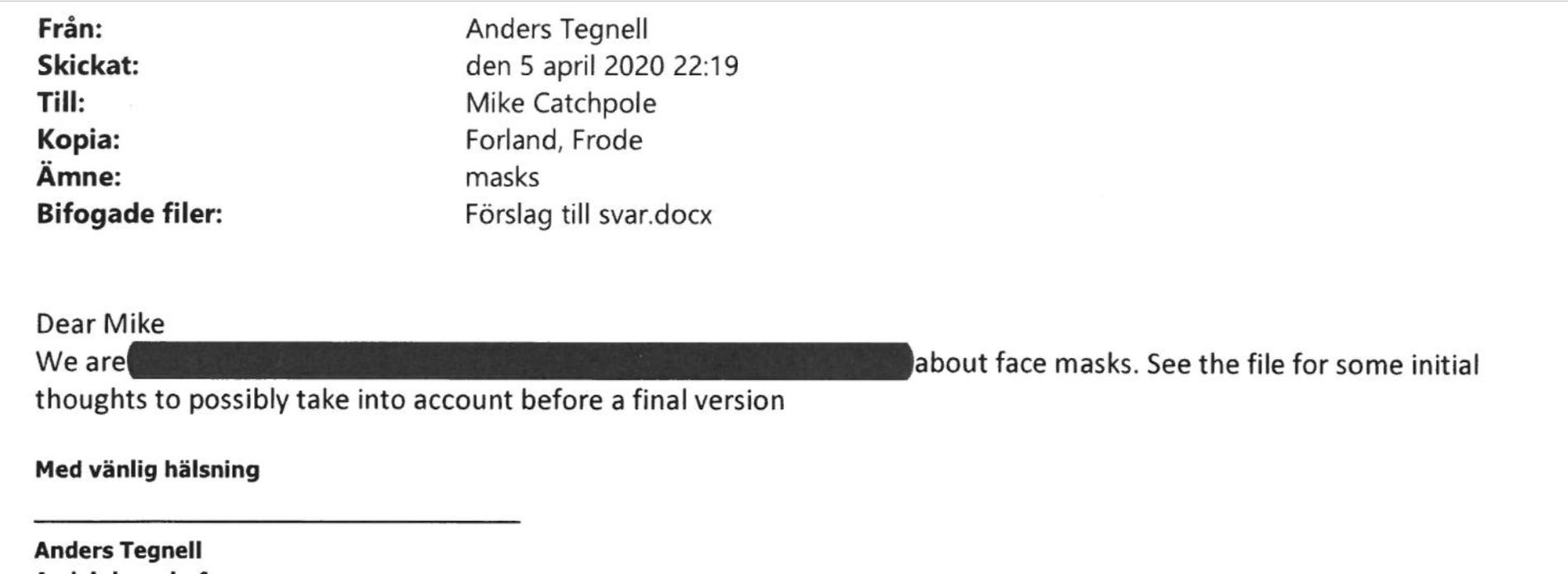 Folkhälsomyndigheten sekretessbelägger mejl från Tegnell om munskydd .
