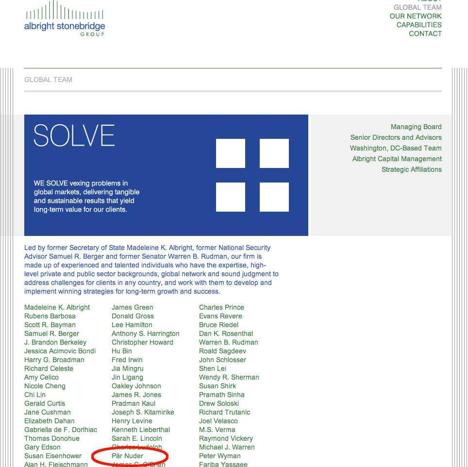 Pär Nuder står nu med som en av konsulterna på Albright Stonebridge Group.