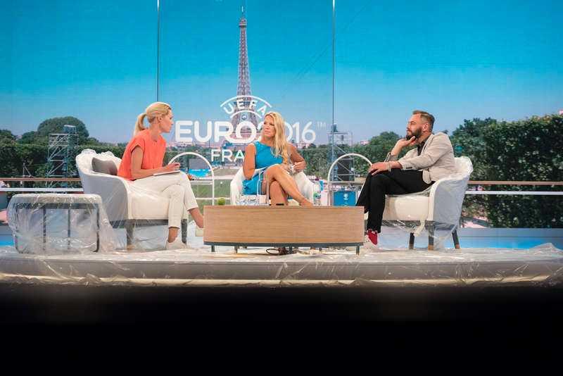 EM 2016 i Frankrike, TV4:s EM-studio. Hanna Marklund, Anna Brolin, och Olof Lund.