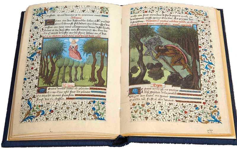"""Ett uppslag ur boken """"Kvinnostaden"""" som utkom på 1400-talet."""