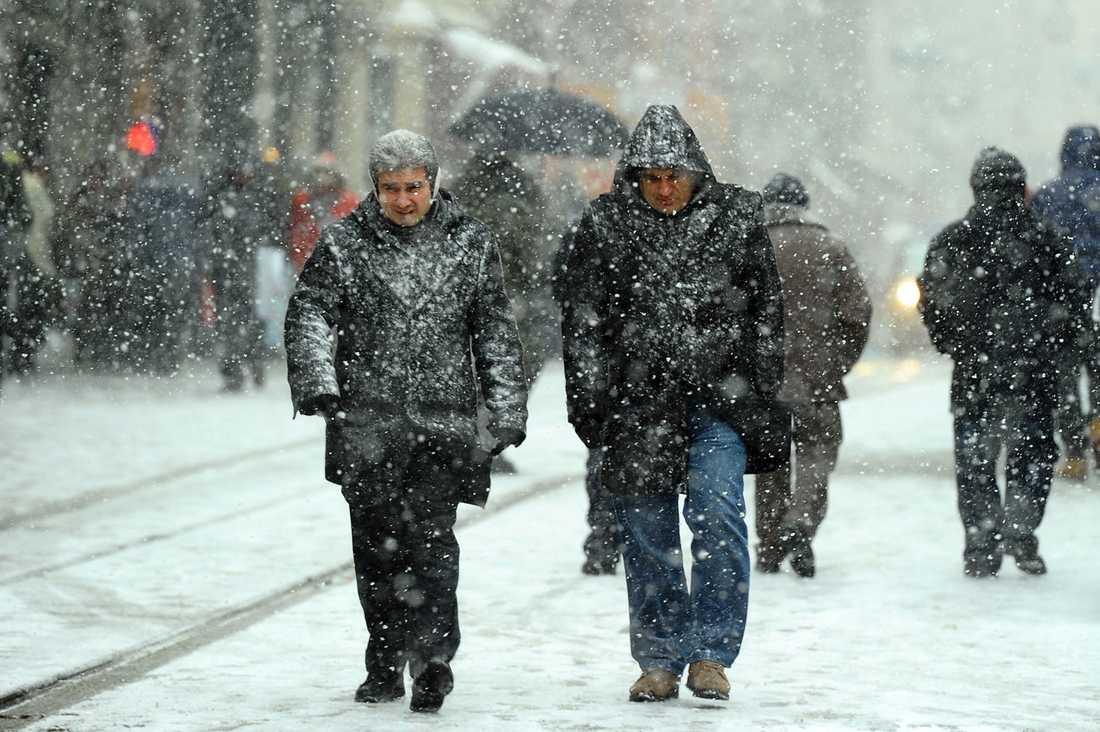 I Istanbul, Turkiet, snöade det kraftigt.