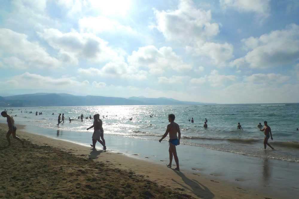 Utsikt över stranden Playa del Ingles - Las Palmas, Gran