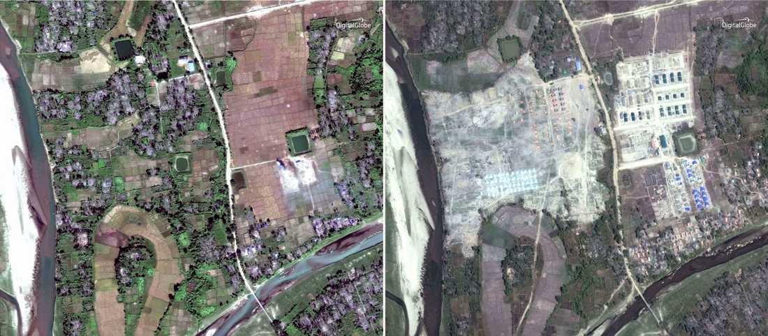 Två satellitbilder på byn Thit Tone Nar Gwa Son i delstaten Rakhine, tagna med några månaders mellanrum. Arkivbild.