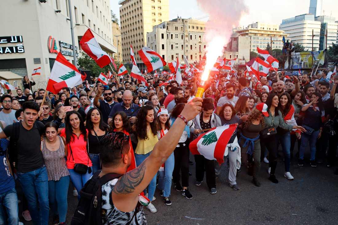 Demonstranter ropar regeringskritiska slagord i nya protester i Libanon på söndagen.