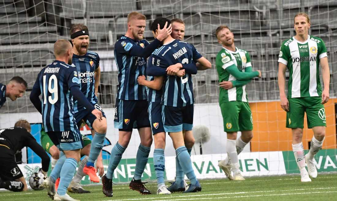 Hammarby deppar efter Jesper Nyholms sena kvittering för Djurgården.
