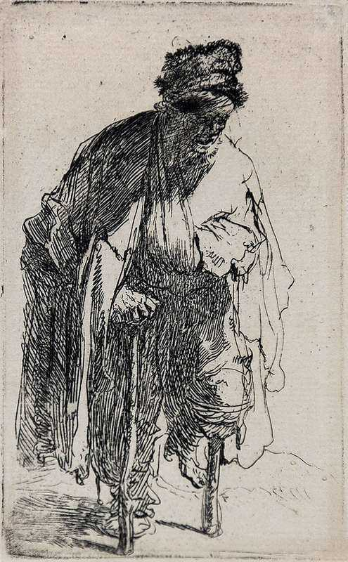 En av Ola Träbens olycksbröder på 1600-talet. Etsning av Rembrandt.