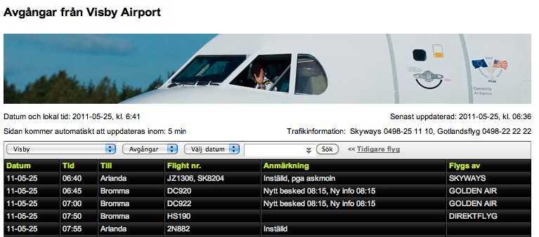 Drabbad Visby flygplats har både förseningar och inställda flyg.