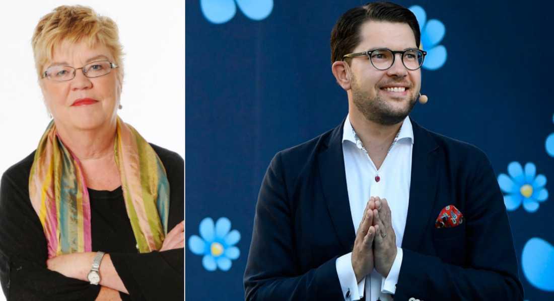 Aftonbladets Lena Mellin – och Sverigedemokraternas partiledare Jimmie Åkesson.
