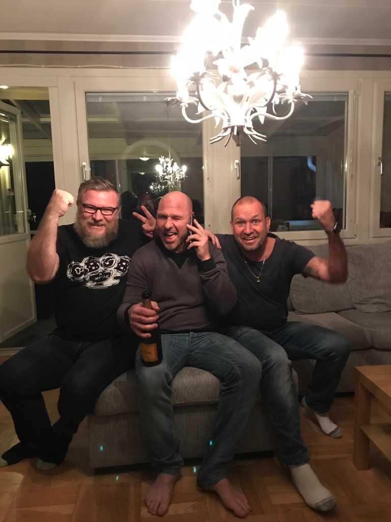 Glada vinnare, Patric, Robban och Stefan.