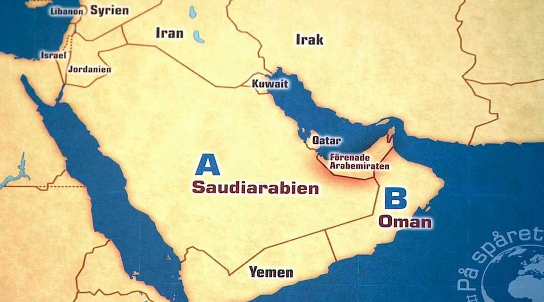 """På kartan som visades i """"På spåret"""" hade placeringen av Irak och Iran kastats om."""