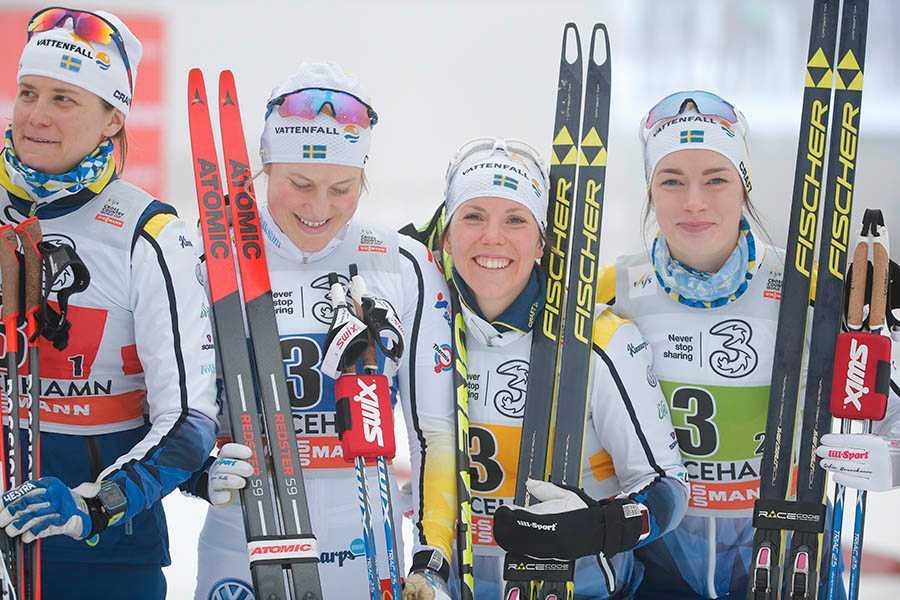 Sveriges Ida Ingemarsdotter, Hanna Falk. Charlotte Kalla och Maria Nordström