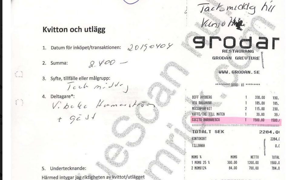 Kyrkans Akademikerförbunds Vibeke Hammarström anklagas för att slösa med medlemmarnas pengar, bland annat ska hon ha köpt vin för 1 500 kronor i samband med en middag