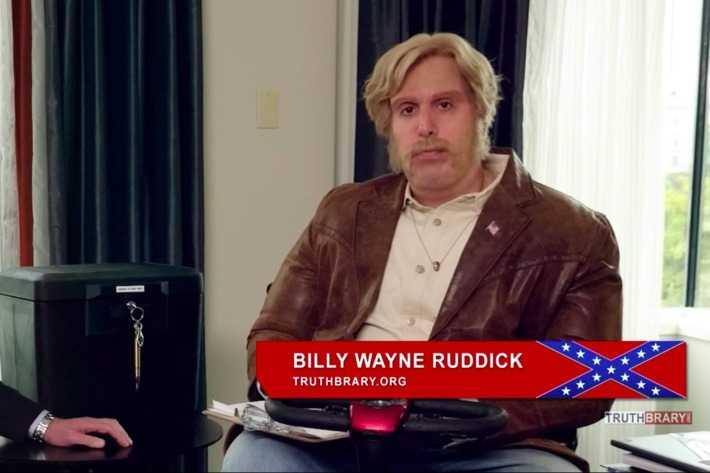 Cohen som den högervridna konspirationsteoretikern Billy Wayne Ruddick.