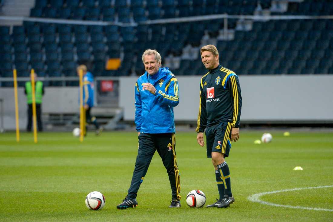 Hamrén och Allbäck i svenska landslaget