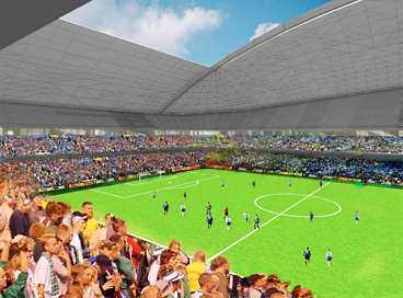 SUPERARENAN 50 000 personer ska rymmas på läktarna, för att bygget ska löna sig krävs att minst två allsvenska lag spelar sina hemmamatcher här.