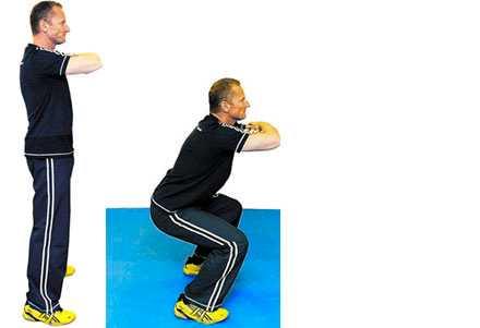 Knäböj Stå höft-/axelbrett. Korsa armarna framför kroppen. Sätt dig ner tills låren är parallella med golvet. Höj och sänk 8-10x3 gånger.