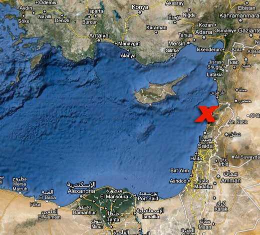 Här, i närheten av Beirut, störtade planet.