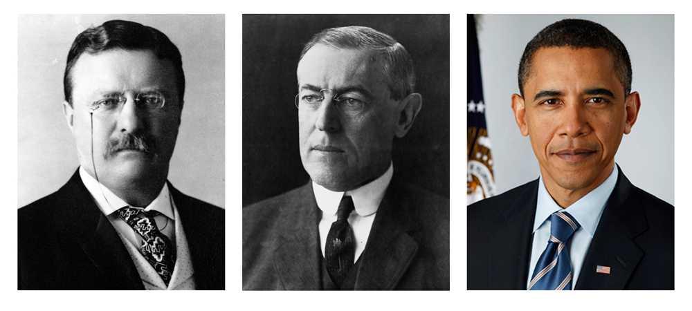 Tre sittande amerikanska presidenter har fått fredspriset. Från vänster: Theodore Roosevelt, 1906 (Medlare i det rysk-japanska kriget), Woodrow Wilson, 1919 (Initiativtagare till Nationernas Förbund) och Barack Obama, 2009 (För skapandet av ett nytt klimat i internationell politik).