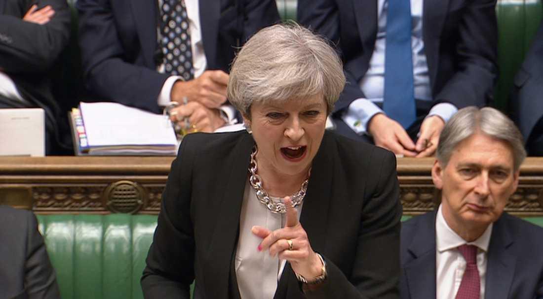 Theresa May i parlamentet.