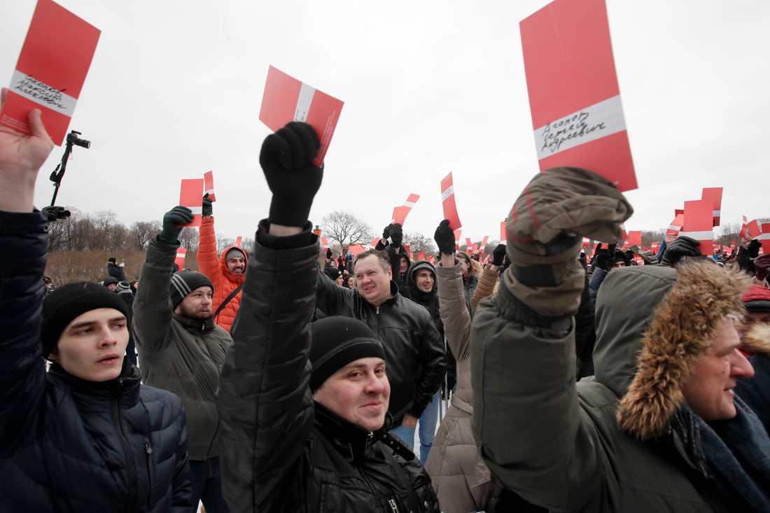 Anhängare till antikorruptionsaktivisten Aleksej Navalnyj.