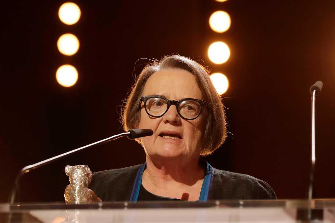 Regissören Agnieszka Holland, som 2017 fick en Silverbjörn på filmfestivalen i Berlin (bilden) fortsätter att kritisera den polska regeringen. Arkivbild.