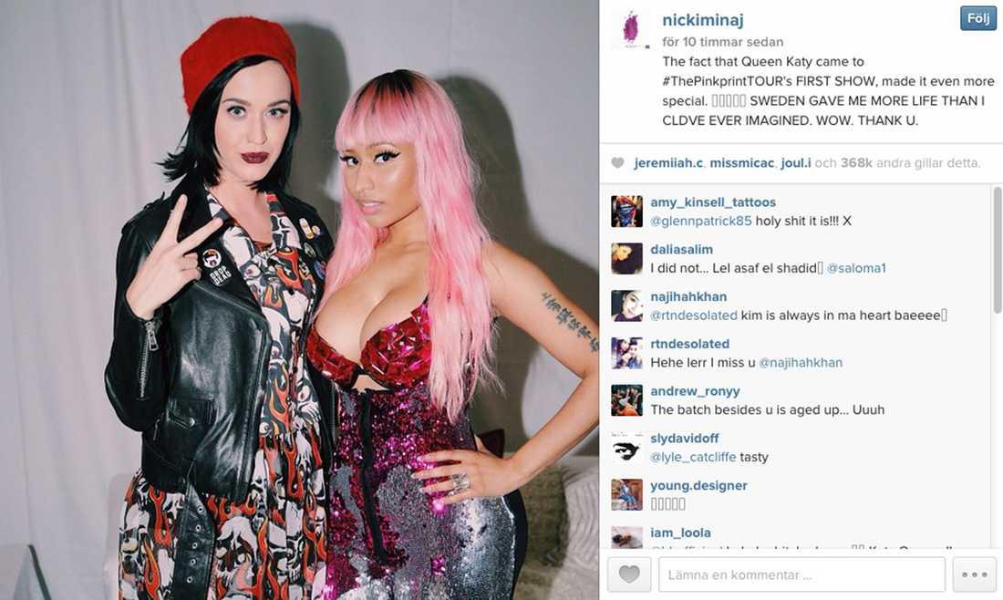 Nicki Minaj var glad och tacksam över att Katy Perry anslöt sig till svenska publiken på måndagens Globenshow.