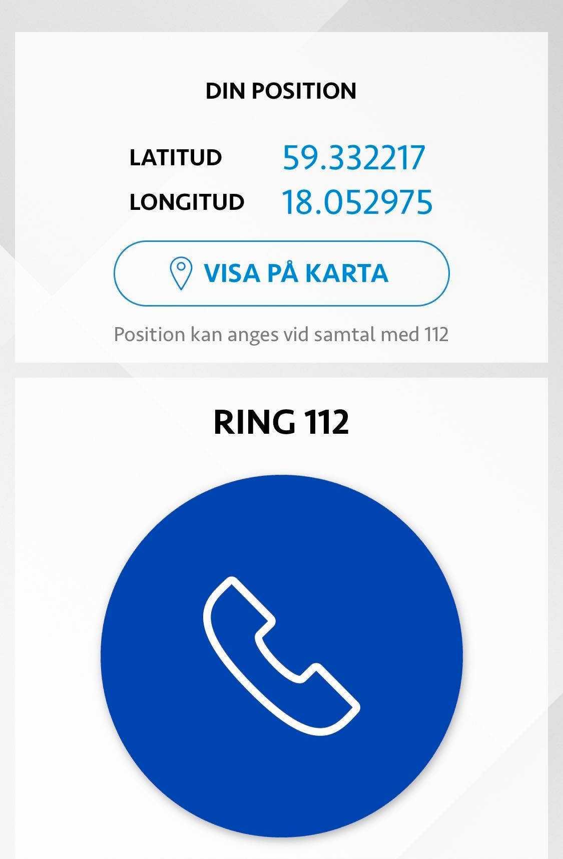 Om man ringer via appen så delar man med sig av sin position.