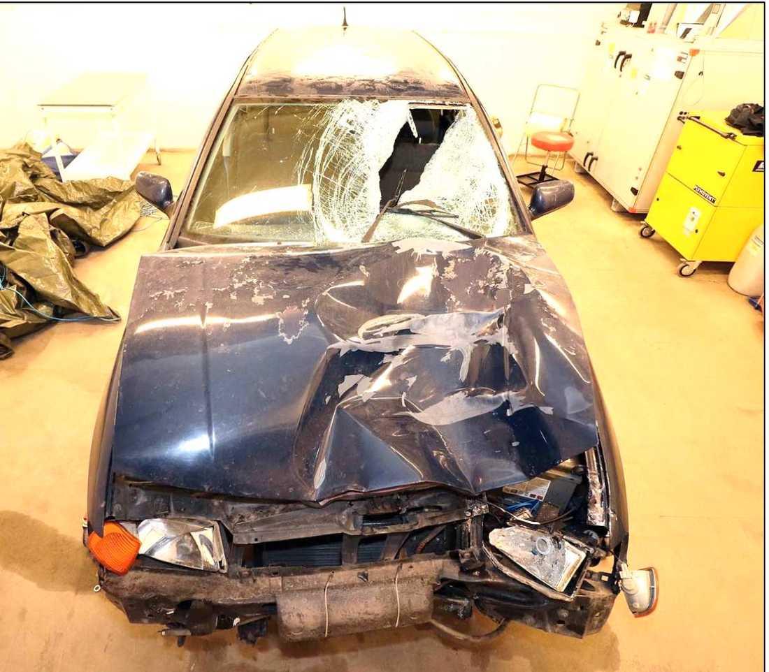 Här är den 50-årige mannens bil, som han körde ihjäl Elsa Englund med. Bilen var både avställd och hade körförbud.